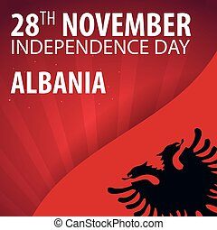 Independence day of Albania. Flag and Patriotic Banner....