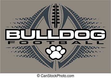 bulldog football team design with paw print and ball for...