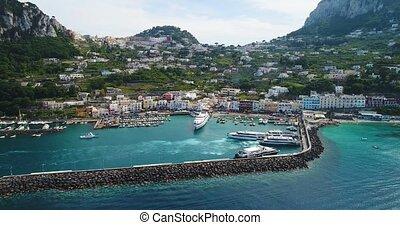 flight over Capri harbor in southern Italy