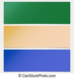 Halftone dot pattern banner background - vector graphic from circles in varying sizes