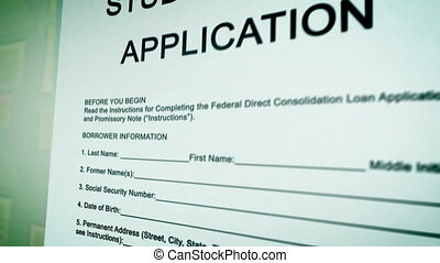 """Student Loan Application Form on a paper sheet. "" -..."