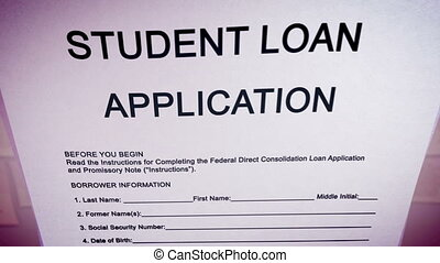 """Blank student loan application on a paper sheet."""