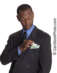 Businessman with 100 Euro Hankerchief - African American...