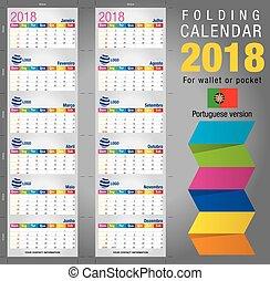 Useful foldable calendar 2018, colorful template. Open size:...