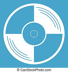 Vinyl record icon white isolated on blue background vector...
