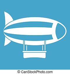 Striped dirigible icon white isolated on blue background...