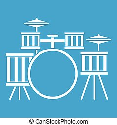 Drum kit icon white isolated on blue background vector...