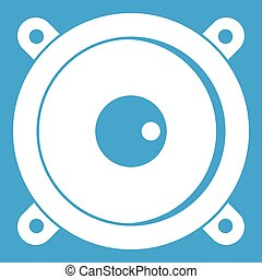 Audio speaker icon white isolated on blue background vector...