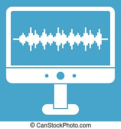 Sound waves icon white isolated on blue background vector...