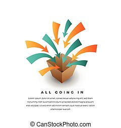 All Going In - Vector conceptual illustration of several...