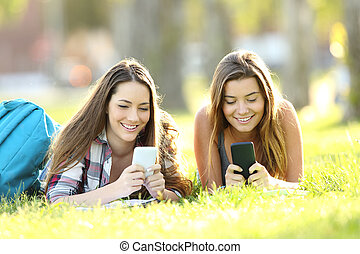 Two students texting in their smart phones in a park - Front...