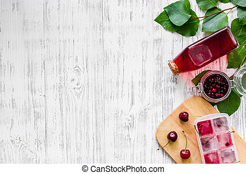 Cranberry morse on wooden table background top view...