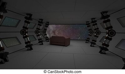 Spaceship interior with relax sofa view on space and distant...