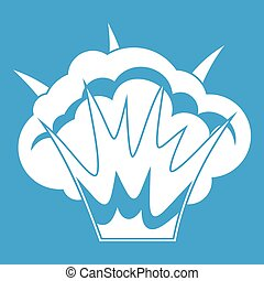 Projectile explosion icon white isolated on blue background...