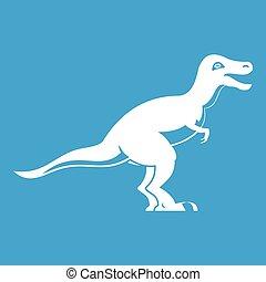 Theropod dinosaur icon white isolated on blue background...