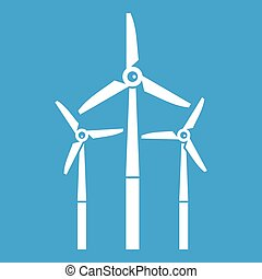Windmill icon white isolated on blue background vector...