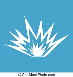Nuclear explosion icon white isolated on blue background...