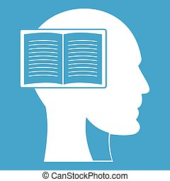 Head with open book icon white