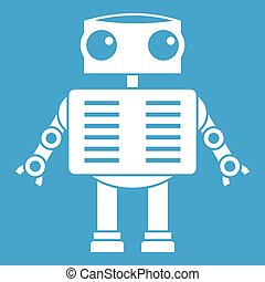 Robot with big eyes icon white isolated on blue background...