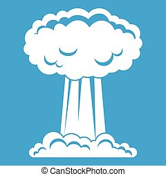 Mushroom cloud icon white isolated on blue background vector...