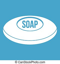 Soap icon white isolated on blue background vector...