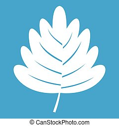Hawthorn leaf icon white isolated on blue background vector...