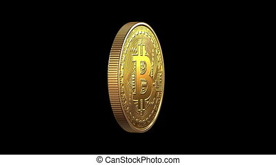 Rotating Bitcoin on a green background, seamless looping 3d...