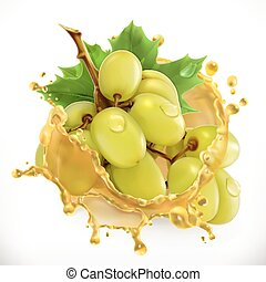 Grape juice. Fresh fruit, 3d vector icon