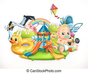 Kids and toys. Children playground 3d vector illustration