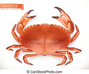 Red crab. 3d vector icon. Seafood, realism style