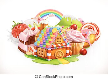 Sweet house. Confectionery and desserts, 3d vector...