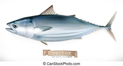 Tuna fish. 3d vector icon. Seafood, realism style
