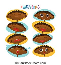 Cute African American Baby Boy Emotions Set Toddler Face Collection Cartoon Infant