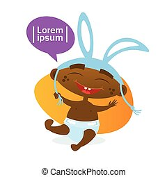 Cute African American Baby Boy Wearing Rabbit Ears Toddler Happy Cartoon Infant In Diaper