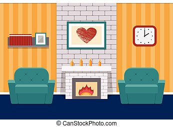 Living room flat interior. Vector graphic.