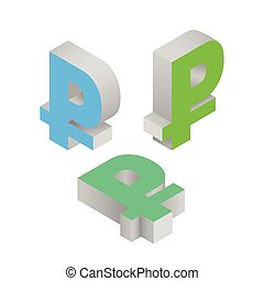 Isometric icons of symbol ruble currency. Vector.