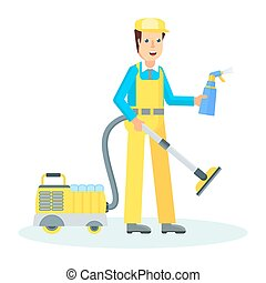 service man with hoover - Clean, worker of cleaning service....