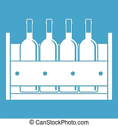 Four bottles of wine in a wooden box icon white isolated on...