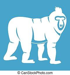 Mandrill monkey icon white isolated on blue background...
