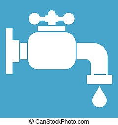 Water tap icon white isolated on blue background vector...
