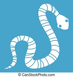 Striped snake icon white isolated on blue background vector...