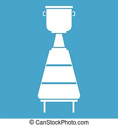Wine distillery equipment icon white isolated on blue...