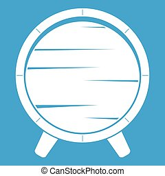 Barrel on legs icon white isolated on blue background vector...