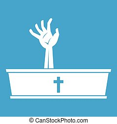 Zombie hand coming out of his coffin icon white