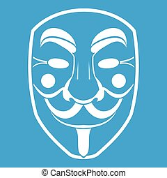 Vendetta mask icon white isolated on blue background vector...
