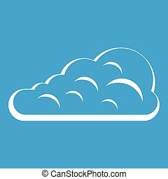 Cumulus cloud icon white isolated on blue background vector...