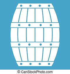 Barrel icon white isolated on blue background vector...