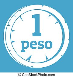 Peso icon white isolated on blue background vector...