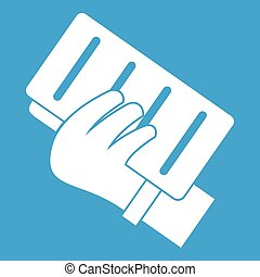 Brick in a hand icon white isolated on blue background...