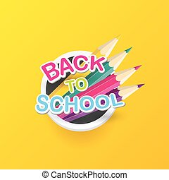 Back to school vector label with text and pencil